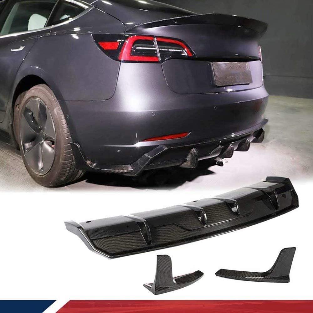 Lfewou Passend Für Tesla Model 3 Sedan 2016 2019 Rear Bumper Hinten Lip Diffusor Heckdiffusor Heck Ansatz Stoßstange Spoiler Sport Freizeit