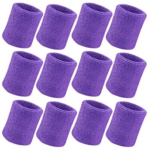 Vidillo Sweatband, Wrist Sweatband 12 Pack, 4 Inch Sports Sweatband Wristband Soft Thicken Cotton,for Tennis Gymnastics Football Basketball, Running Athletic Sports (White) -