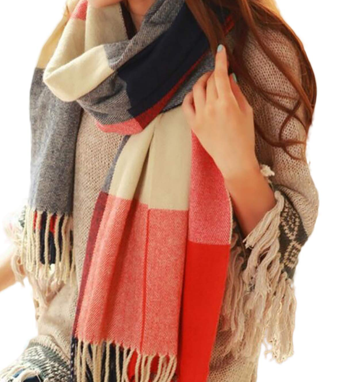 Spikerking Women\'s Fashion Multicolor Long Shawl Big Grid Winter Warm Lattice Large Scarf,Red Blue Grid