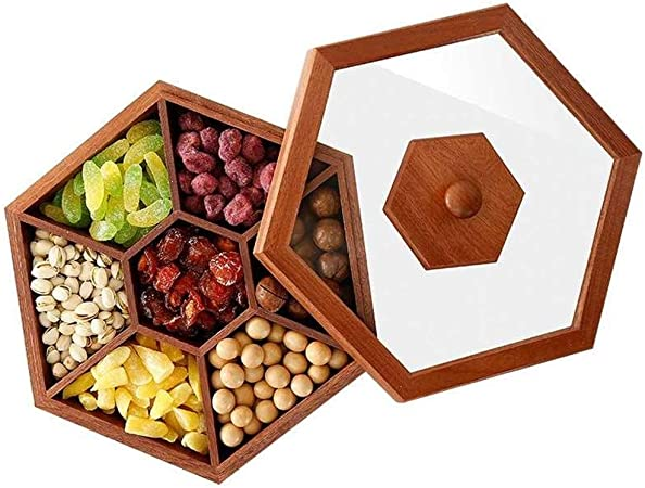 AINIYF Bandeja de refrescos Caja de Madera Caja de Dulces Snacks de Frutas secas Caja de Escritorio Caja de Regalo de Boda de azúcar de Madera Maciza: Amazon.es: Hogar