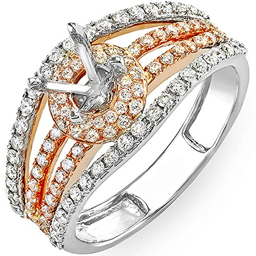 1.00 Carat (Ctw) 14k White & Rose Gold Two Tone Round Diamond Fancy Semi Mount Ladies Engagement Bridal Ring (No Center Stone) (Size (Diamond Fancy Ring Mounting)