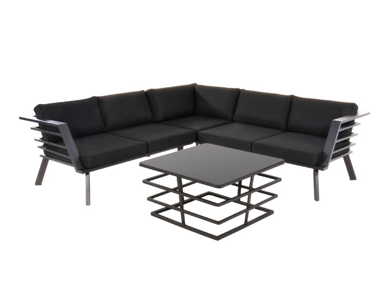 lifestyle4living Lounge Gartenmöbel Set aus Aluminium in schwarz. Tisch und Bank inkl. Sitzauflagen, wetterfest. Ideal für Garten und Terrasse.