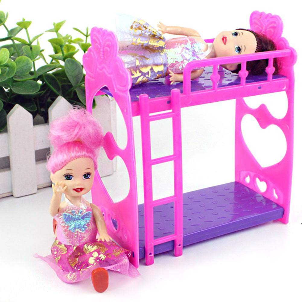 Yapthes 1pc Doll House Furniture Double Bed Frame Plastic Bunk Bed