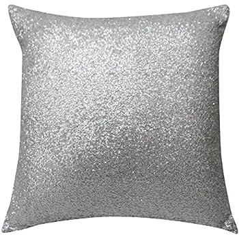 Amazon Com Silver Sequins Pillow Case Indian Decorative