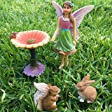 Fairy Flower Garden Miniature Set of 4 pcs, Premium Quality Hand Painted Kit For Outdoor, House, Flat Decor, By Mood Lab