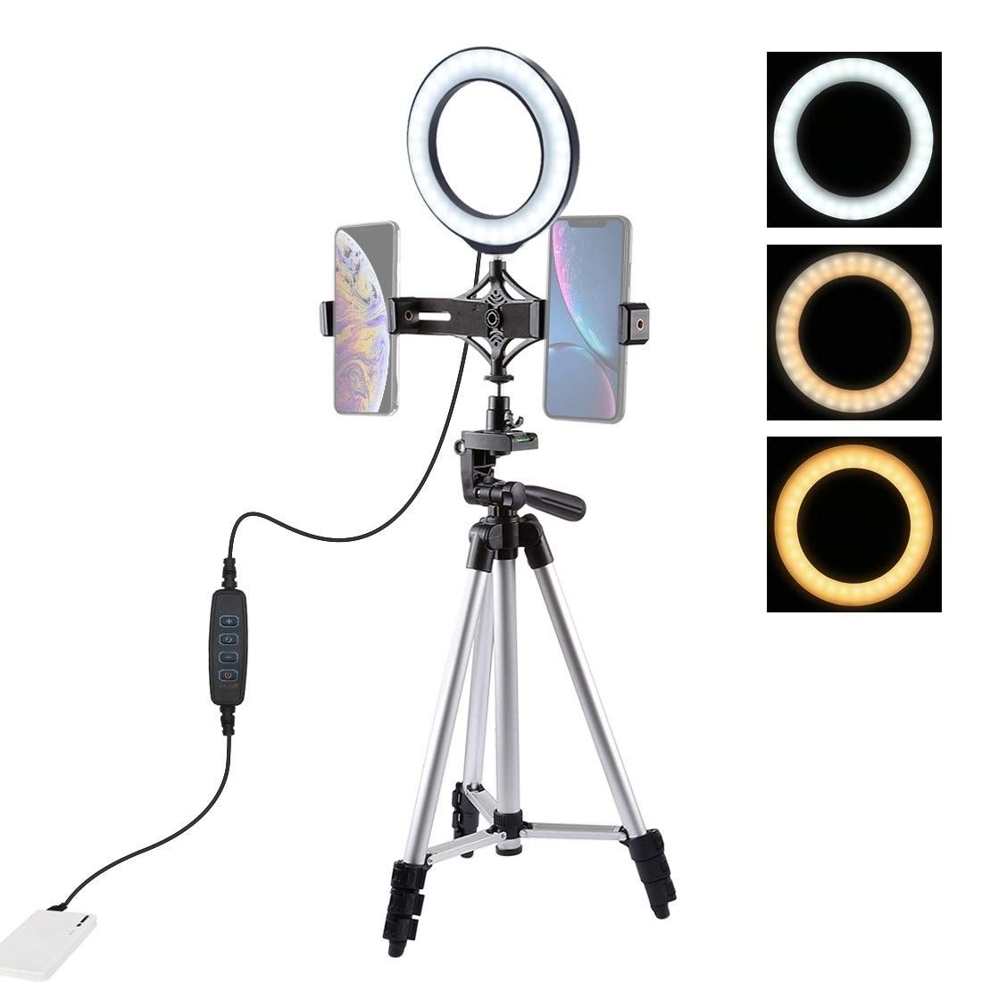Camera Tripod Mount + Live Broadcast Dual Phone Bracket + 6.2 inch 16cm LED Ring Vlogging Video Light Kits by JUNXI