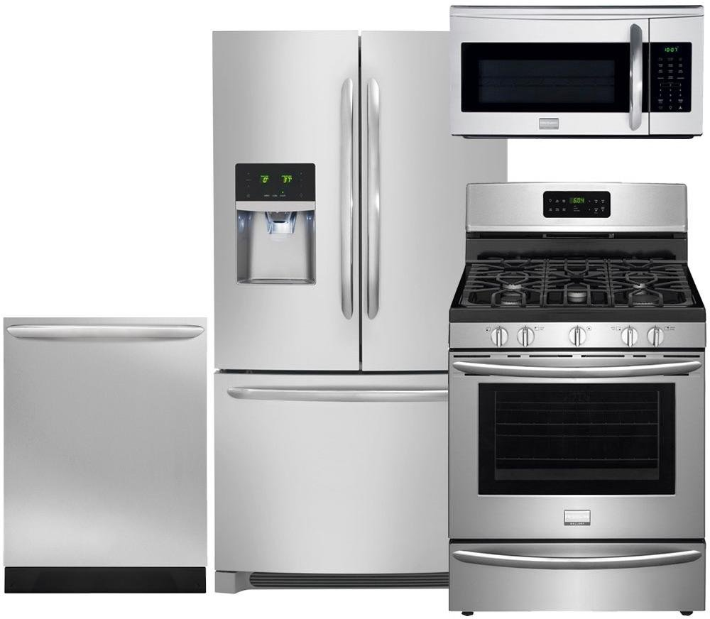"Frigidaire 4-Piece Smudge-Proof Stainless Steel Package, FGHF2366PF 36"" French-Door Refrigerator, FGGF3035RF 30"" Gas Range, FGID2466QF 24"" Fully Integrated Dishwasher and FGMV175QF 30"" Over-the-Range"