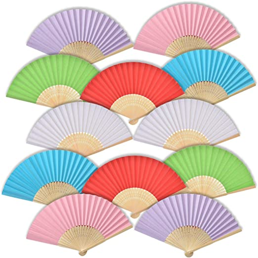 iZoeL 12 Abanicos de madera y papel en tonos pastel Detalles de ...