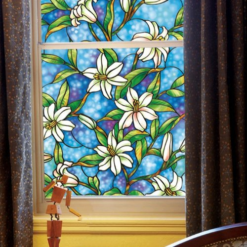 Fancy-fix Vinyl No Glue Privacy Film Static Cling Stained Glass Decorative Window Film for kitchen,Bathroom,living room windows 17.7in. By (Stained Glass Film)