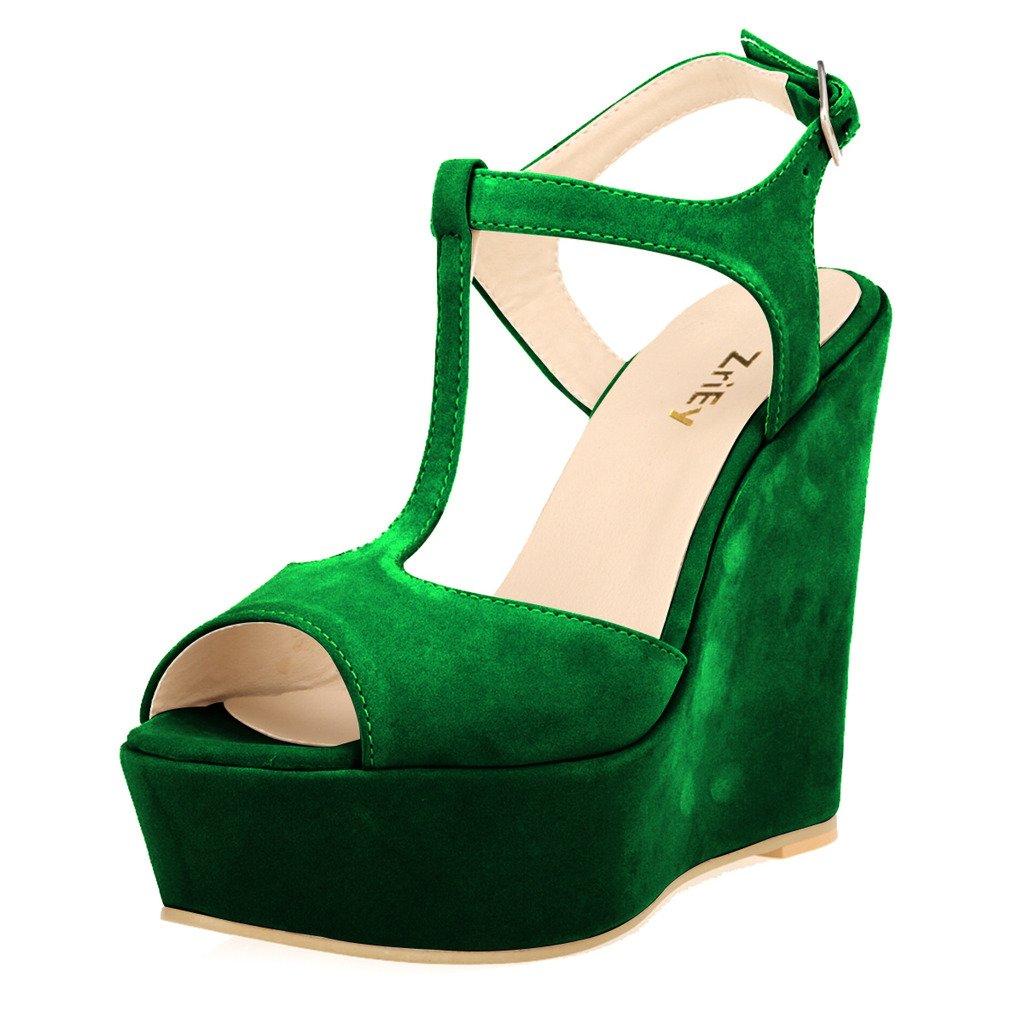 ZriEy Women Gorgeous Sexy Peep Toe High Heels Platform Wedge Sandals Velvet Green Size 5