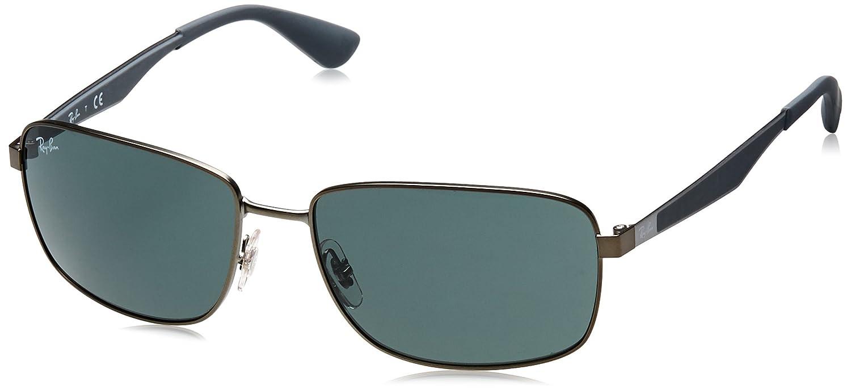 TALLA 61/ XL. Ray-Ban Gafas de sol de metal cuadrada en color marrón RB3529 012/73 61