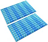 ifrmmy Non Slip Bath Shower Floor Mat with Drain Hole and Suction Cups- Anti Slip and Mold Resistant Bathroom Stall Mat- 24.8'' x 15.7'' (Blue) - Pack of 2