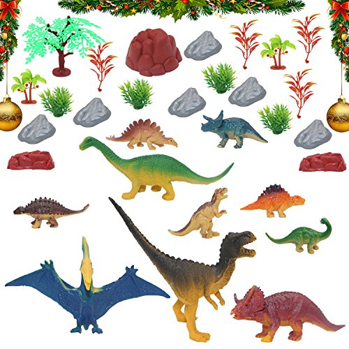 Educational Dinosaur Toys Figures-Toddler Prehistoric Dinosaur World Sets with Plant and Volcanic for Children