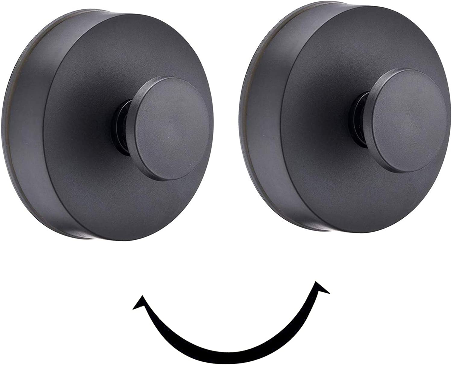 Towel Hooks, Suction Cup Coat/Robe Clothes Hooks,Plastic Wall Hook Removable for Bathroom, Kitchen, Bedroom, Restroom, Hotel, Brushed Nickel and Wall Mounted 2 Pack (Black)
