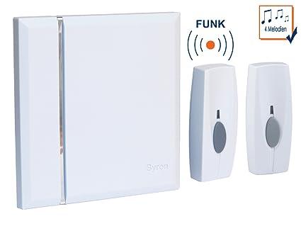 Funk-Türgong mit 2 Klingelknöpfen weiß batteriebetrieben 4 Melodien Klingel