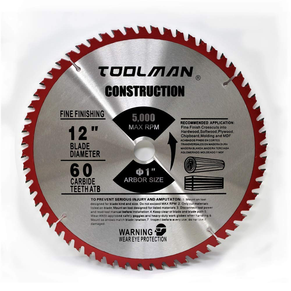 Toolman Circular Saw Blade Universal Fit 12'' x1'' 60T Carbide Tip Table Miter Cutting For Wood works with DeWalt Makita Ryobi