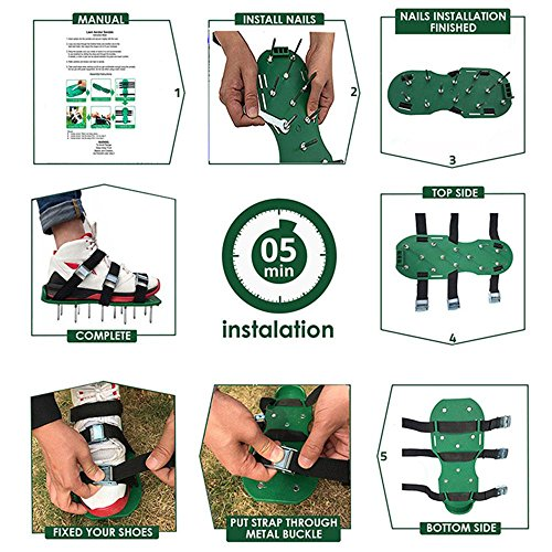 Lawn Aerator Shoes,Lawn Aerator Spike Shoes,Lawn Aerator Spike Sandal Shoes with 6 Adjustable Straps 2 Extra Spikes, Zinc Alloy Buckles for Aerating Your Lawn, Yard, Garden by Aolvo (Image #5)