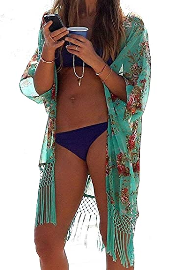a7e438fe93 Yonala Womens Summer Fashion Printed Beach Wear Bikini Cover up Swimwear  Beachwear (One Size,