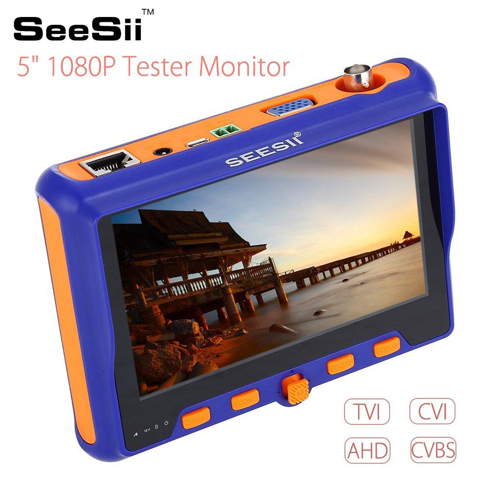 Seesii 5 Pouces 1080P Testeur Cam/éra Surveillance Portable Testeur de Moniteur CCTV 4 en 1 TVI CVI AHD CVBS VGA PTZ Control RS485 12V 5800