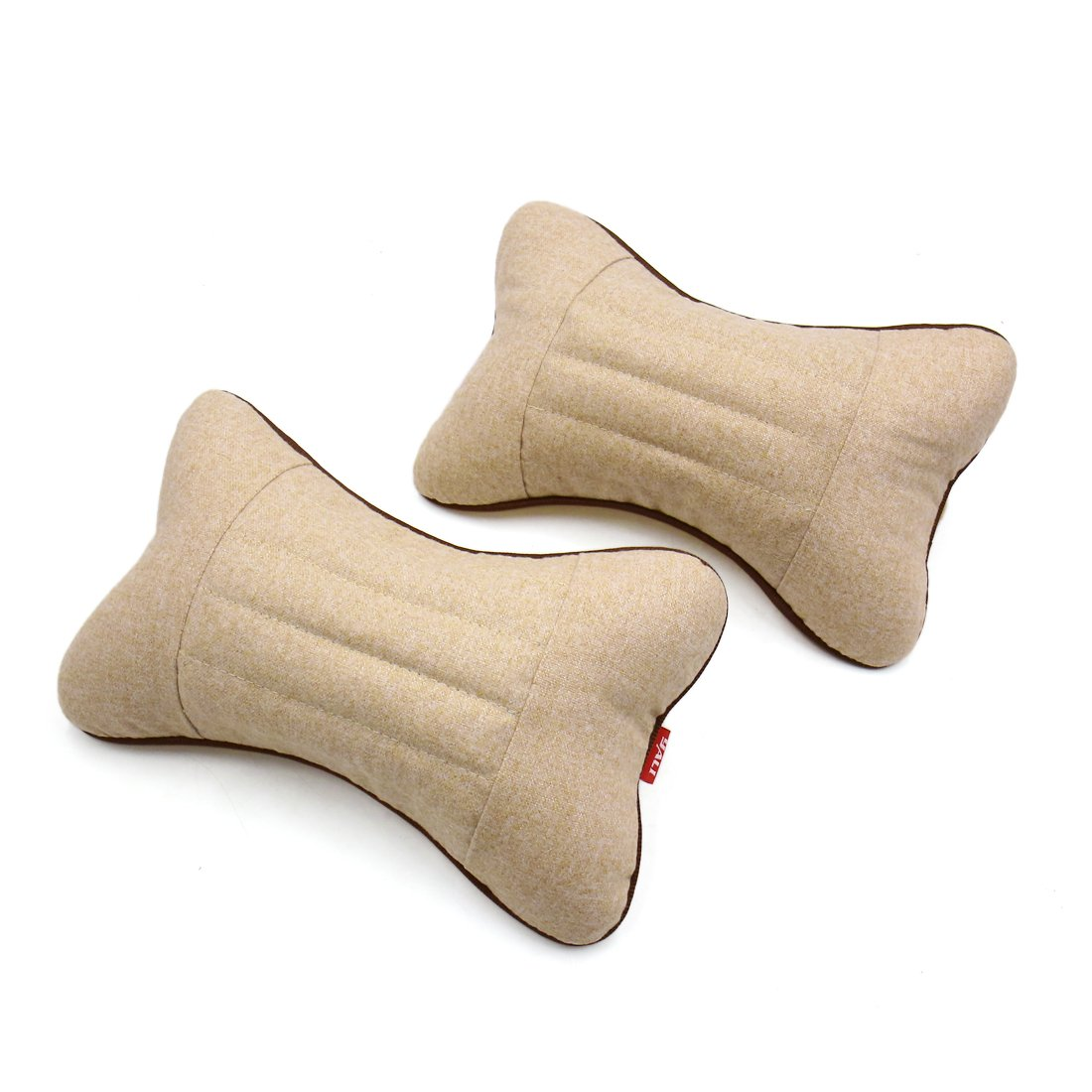 uxcell 2 Pcs Bone Shape Cassia Seed Car Seat Headrest Pillow Neck Support Cushion Beige