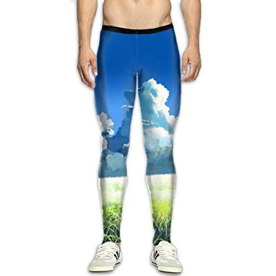 Adult's Compression Pants Sports Leggings Tights Baselayer Cartoon Sky Grassland Yoga Gym Running Workout Hiking Basketball Fitness - For Men Womens
