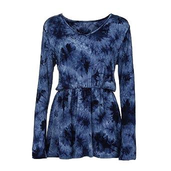 ❤ Blusa de Mujer Tie-Dye Print, Blusas de Manga Larga con Cuello en V y Blusa Plisada de la Cintura Absolute: Amazon.es: Ropa y accesorios