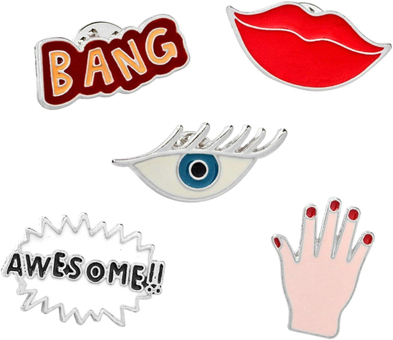 Aooaz Damen M/ädchen Kinder Cartoon Emaille Brosche Anstecker Anzug Zubeh/ör Lippen Gl/äser H/ände Worte 5 St/ück