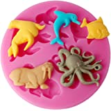 FOUR-C Silicone Molds Sea Animals Cake Design Moulds Color Pink