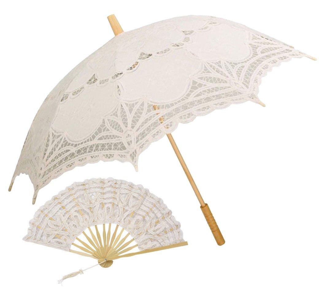 Lace Umbrella, Outgeek Parasol Umbrella Auto Open Vintage Parasol with Folding Hand Fan for Wedding Photography