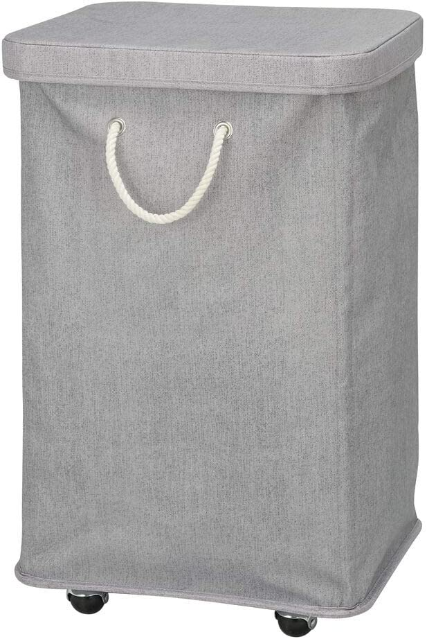mDesign Large Capacity Portable Laundry Hamper with Wheels, Lid and Attached Rope Carrying Handles - Collapsible for Compact Storage - Single Compartment Design, Polyester Fabric - Gray