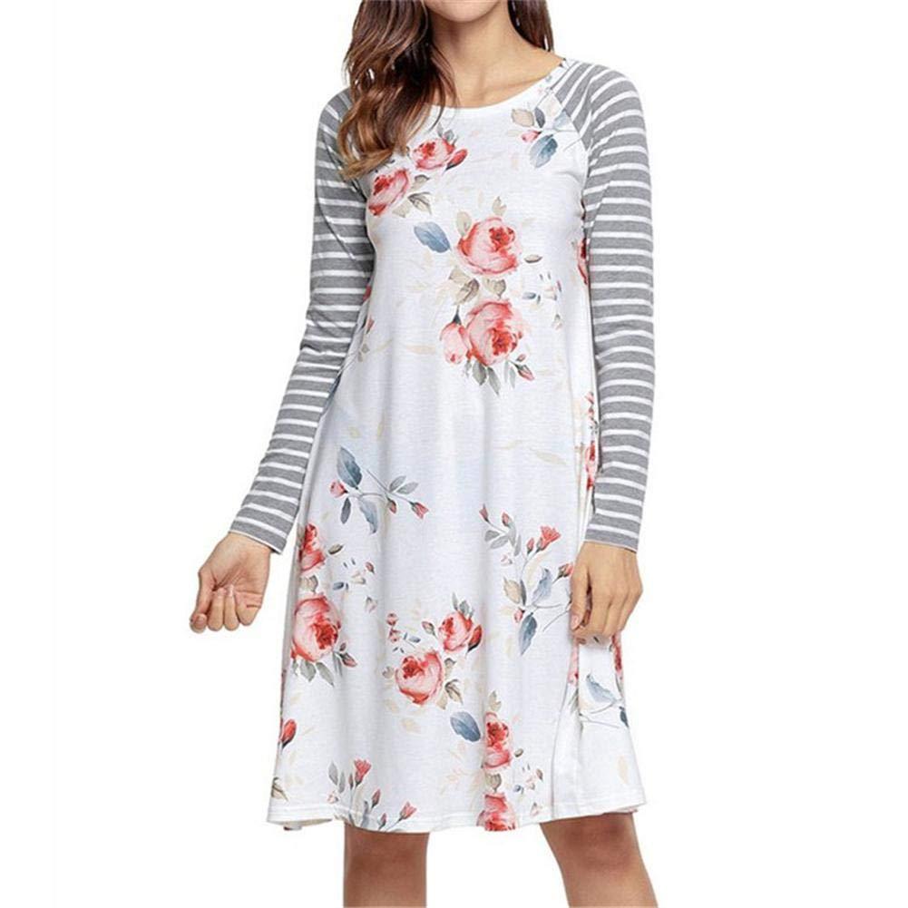 Damen Kleider Blusekleid Hemdkleider Frauen Kleid Partykleid Rundhals Gestreift Drucken