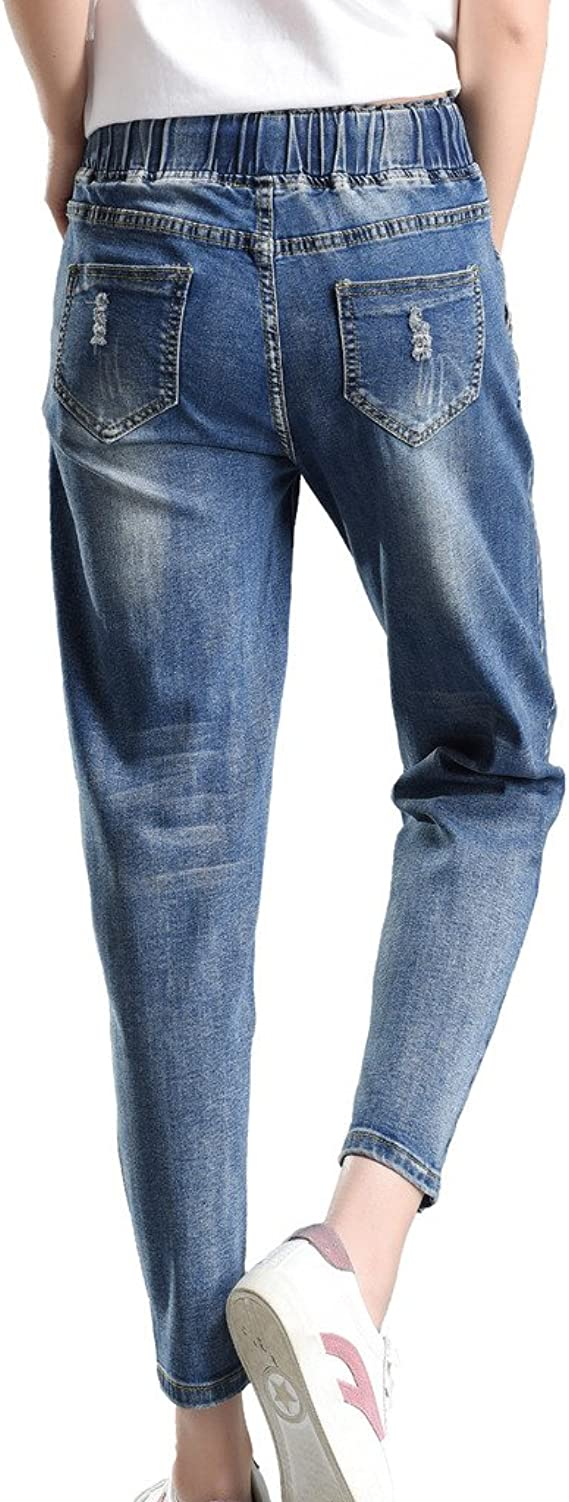 PHOENISING Womens Drawstring Boyfriend Style Jeans Ripped Hole Fashion Trousers,Size 6-16