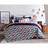 3 Piece Girls Blue Hot Pink Southwest Comforter Full Queen Set, All Over South West Aztec Tribal Bedding, Multi Color Ikat Native Western American Tribe Themed Pattern, Light Navy Teal