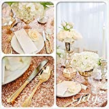Diameter 48'' Round Rose Gold Sequin Tablecloths, Rose Gold Sequin Round Table cloths, Rose Gold Sequin Table linens for Wedding