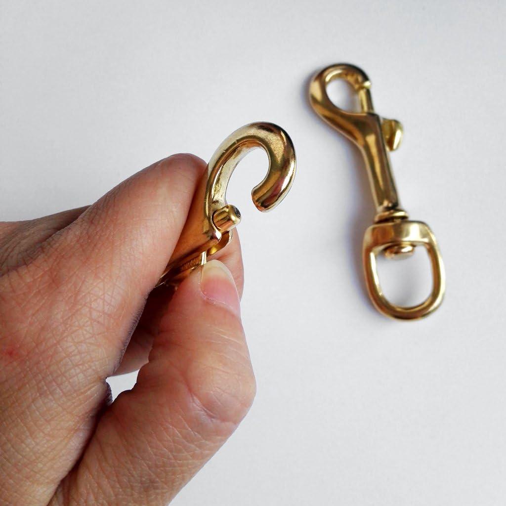 2//4 Piezas MagiDeal Clip Gancho de Resorte Hecho de Lat/ón con Un Solo Extremo Perno de Ojo Giratorio para Bucear