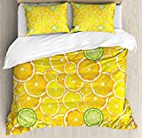 How Big Is a King Size Bed TocaHome Skinny Decorative Duvet Cover for Bedroom, Lemon Orange Lime Fruit Citrus Round Cut Circles Big and Small Pattern,KING Size