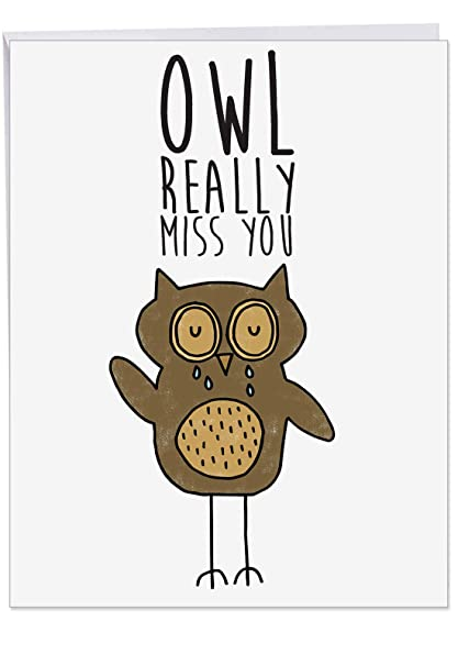 J2975DMYG Jumbo Miss You Greeting Card: FUN PUNS, Featuring a Fun Cartoon  Image Combined with a Clever Pun, With Envelope (Extra Large Size: 8 5