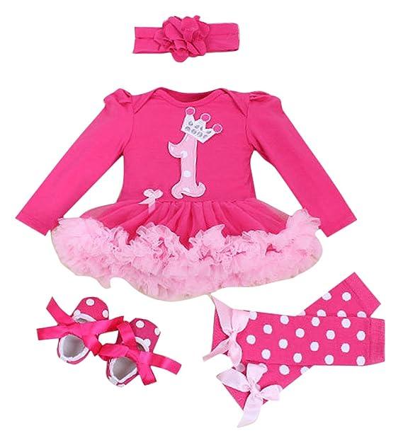 Happy Cherry - 4PCS Bambina Neonata Costume per Natale Halloween Feste -  Pagliaccetto con Maniche Lunghe 357d954b362