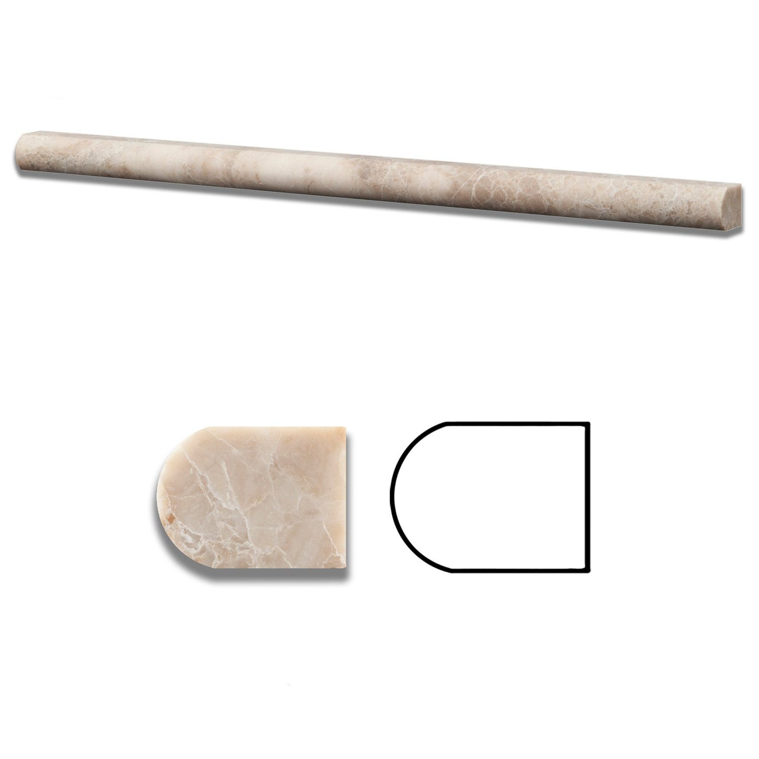Cappuccino Marble Honed 1/2 X 12 Pencil Liner - Standard Quality - BOX of 15 PCS