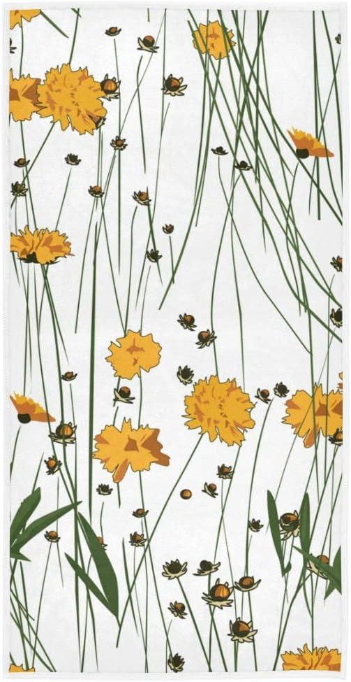 Mnsruu Flores Amarillas Toallas de Mano Toalla de ba/ño Absorbente Suave para ba/ño Gimnasio y SPA 76x38cm Hotel