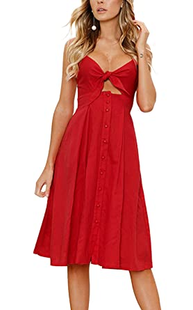 Poptem Womens Sexy Midi Dresses Tie Front V-Neck Spaghetti Strap Button  Down A- 2b155608a