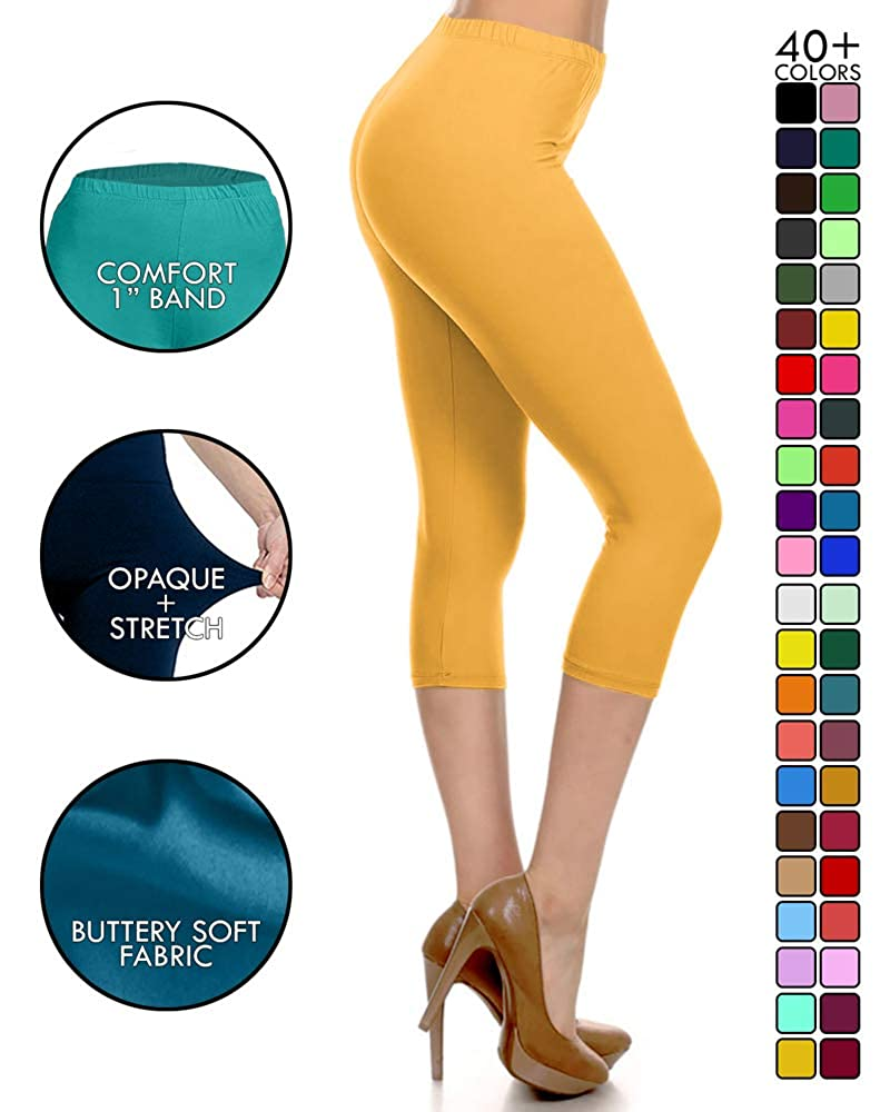 3eec0cf066 Leggings Depot High Waisted Capri Leggings - Soft   Slim - 37+ Colors at  Amazon Women s Clothing store