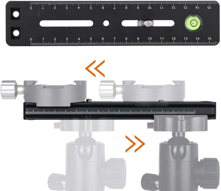 Serounder 180mm Multi-Function Rapid Connect Quick Release Sliding Plate with Level Aluminium DSLR Accessory