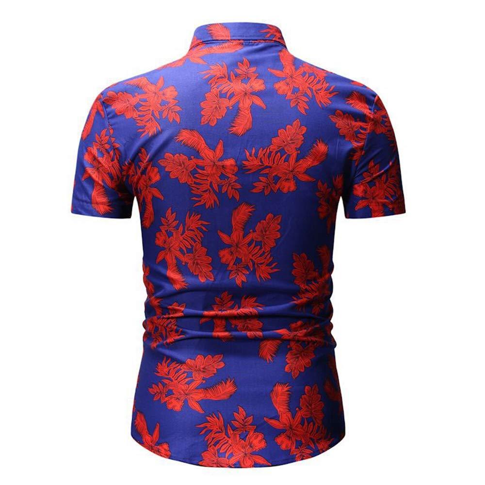 Mens Floral Leaf Shirt Beach Holiday Casual Short Sleeve Button Down Shirt