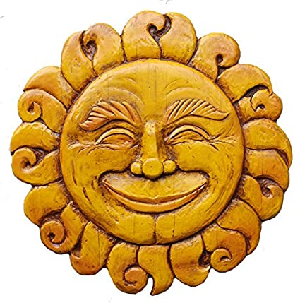 Amazon.com: Sun Face Plaque Wall Art Celestial Wall Decor- large ...