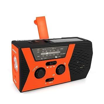 Retekess HR12W FM RAD io de Emergencia Manivela Manual Solar con Linterna de Lectura Ajustable Función de Alarma SOS Adecuada para Familiar Camping