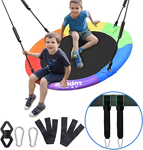 Zupapa 40 Inch Round Saucer Tree Swing for Swing Set with Tree Strap Swivel Protective Cover, 660lbs Capacity, Tree Swing for Kids and Adults, Steel Frame