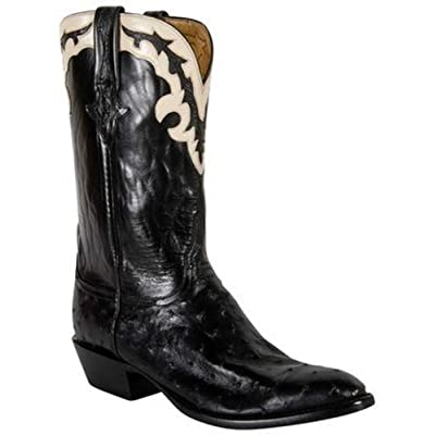 Lucchese Black Pin Gold Buffalo Goat Lining Western Boots For Men