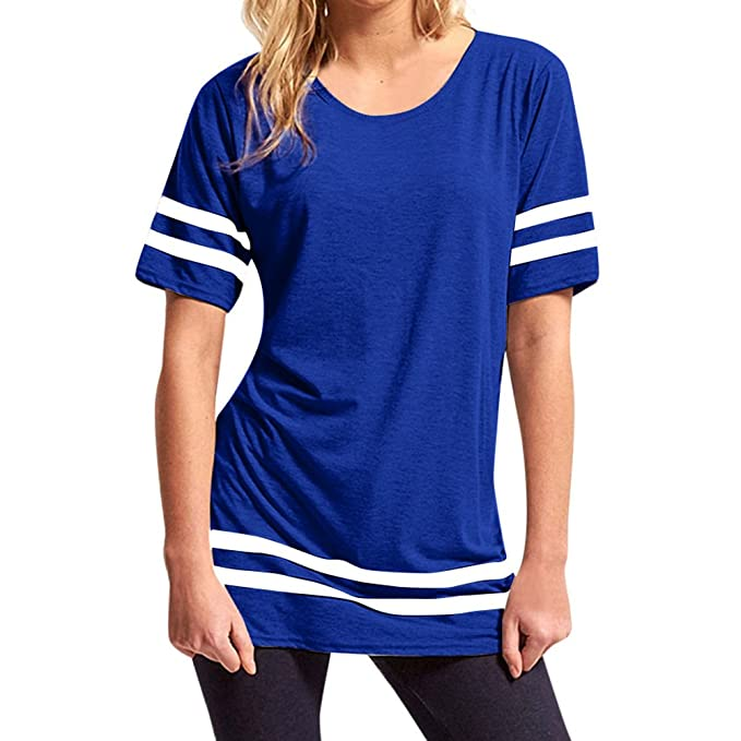 juqilu Blusas para Mujer, Casual Moda Camiseta Mujeres Camisetas Sweatshirt Manga Corta Sudaderas Básicas Pullover