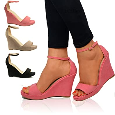 Women Summer Platform Wedge Heel Peep toe Shoes Ladies Sandals Size 3 4 5 6 7 8